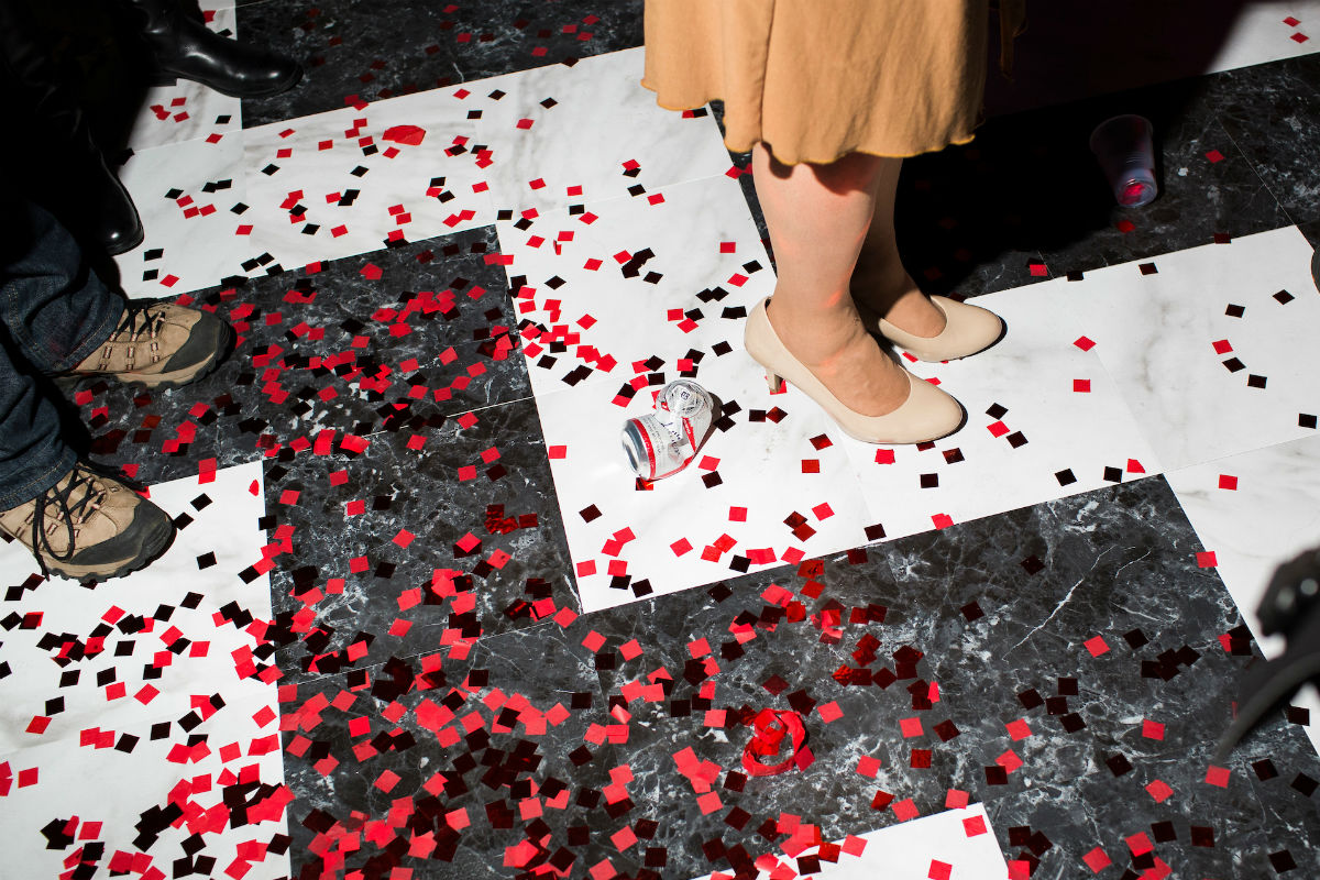 black lodge floor confetti